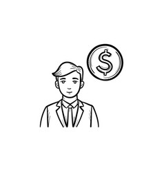earning money hand drawn sketch icon vector image