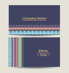 Ethnic business card template vector image