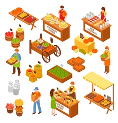 Farmers marketplace isometric set vector