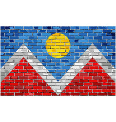 Flag of denver on a brick wall vector