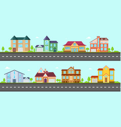 flat cottage neighborhood houses villa and vector image