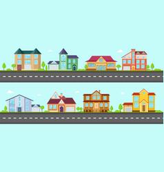Flat cottage neighborhood houses villa and vector
