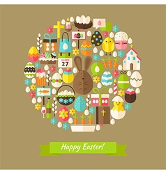 Flat Happy Easter Holiday Objects Concept vector image