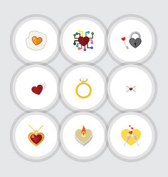Flat icon heart set of scrambled necklace vector