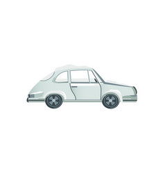 flat side view grey sedan car covered with snow vector image