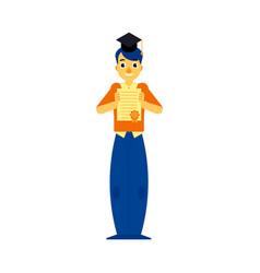 flat student graduate man with diploma vector image