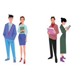 four office workers employees managers vector image