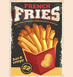 french fries antique poster vector image