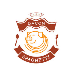 fresh bacon spaghetti logo with pig and noodle vector image