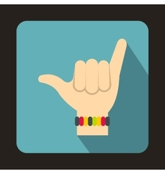 Gesture surfer icon flat style vector image
