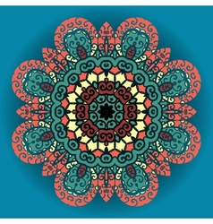 Green and red mandala ornament over azure vector