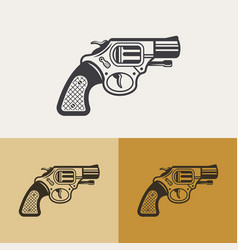 gun or revolver outline design element vector image