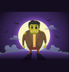 halloween frankenstein zombies at full moon night vector image