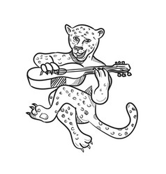 Happy leopard playing acoustic guitar cartoon vector