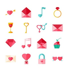 Happy Valentine Day Objects Set isolated over vector image