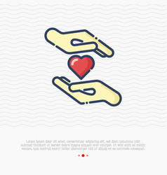 heart between two hands thin line icon vector image