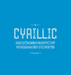 hollow sans serif font in the sport style vector image