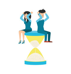 hourglass time with business couple vector image