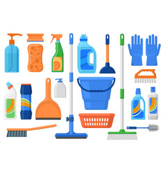 household supplies cleaning services tools vector image