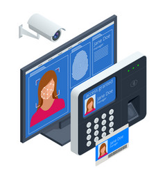 Isometric facial recognition system concept vector