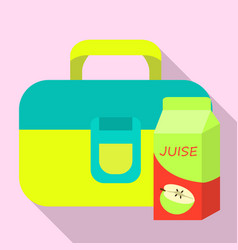 juice lunch bag icon flat style vector image
