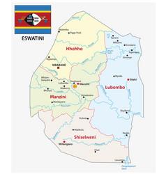 kingdom eswatini administrative map vector image