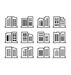 Line company icons and buildings set black vector
