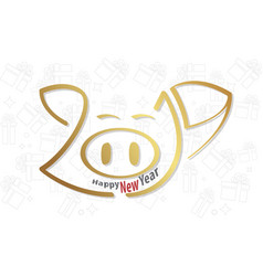 Logo type happy new year2019 pig style vector