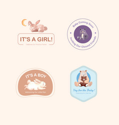 Logo with baby shower design concept for brand vector