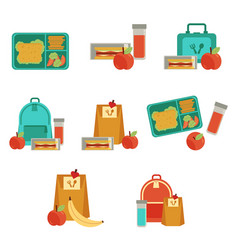 Lunchbox with snacks vegetables set vector