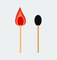 matchstick iconburning match with a flame vector image
