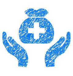 Medical fund care hands grunge icon vector