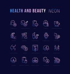 Neon linear icons health and beauty vector