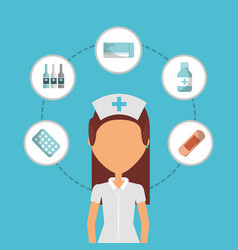 nurse medical people first aid icons vector image