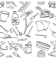 objects in backyard garden seamless pattern vector image