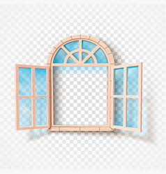 open window isolated wooden frame and glass vector image