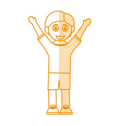 Orange silhouette shading caricature boy with open vector