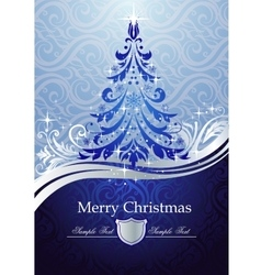 Ornate blue Christmas tree vector image