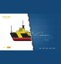 outline blueprint rescue ship top side front vector image