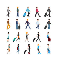 People and baggage set vector