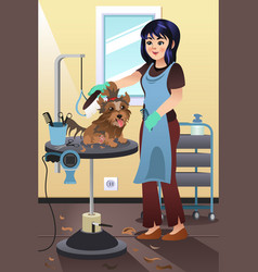 Pet groomer grooming a dog at the salon vector