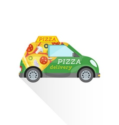 Pizza fast delivery mini car vector