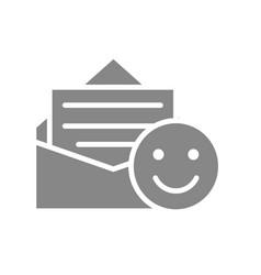 positive feedback happy emoji gray icon good vector image