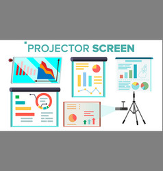 projector screen set presentation with vector image