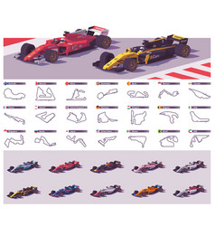 Racing tracks and cars vector