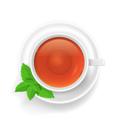 realistic detailed 3d white tea cup top view vector image