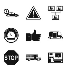 Refueling station icons set simple style vector