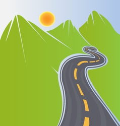 Road and green mountains vector