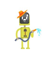 Robot gardener character android standing vector