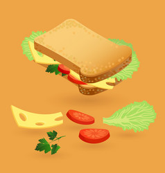Sandwich with salad leaf tomato and chees vector